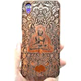 Sony Xperia Z5 Premium Funda de Madera, PhantomSky[Serie de Lujo] Natural Hecha a mano de Bambú / Madera Carcasa Case Cover para tu Smartphone - Buda indio Madera Rosa(Rose Wood Indian Buddha)