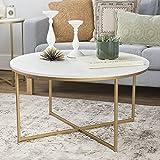Walker Edison Furniture Couchtisch mit X-Base, Metall, Glas/Gold/Marmor, 91,4cm