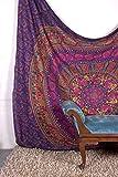 Tapestry regina verde Double Big Flower Hippie Arazzo Mandala Bohemian psichedelico intricato indiano copriletto 233,7 x 208,3 cm Aakriti Gallery (Purple)
