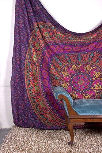 r Beautiful Artwork Mandala Mandala Beach BedSpread Intricate Indian Bedspread Tapestries 92x82 Inches by Aakriti Gallery (Purple) ()