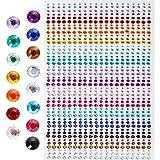 Amaoma Pegatinas Autoadhesivas de Diamantes de Imitación Gemas Pegatinas Uñas Decorativas Brillantes para la Cara Manualidades Material Artesania Color Piedras Cristal 3mm 4mm 5mm 900 Piezas