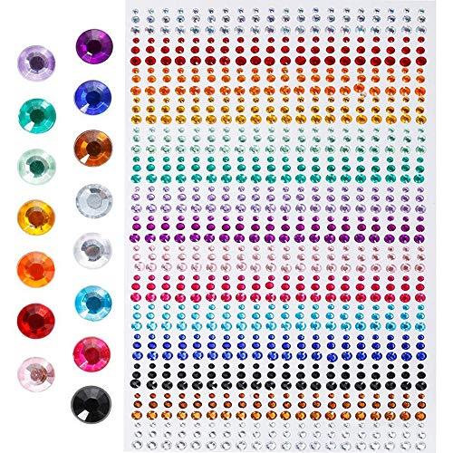 Amaoma strass adesivi per viso autoadesivi strass brillantini autoadesivi rotondo decorativi glitter pietre gemme 3mm 4mm 5mm strass acrilico colorati per cellulare fai da te mestieri 900 pezzi