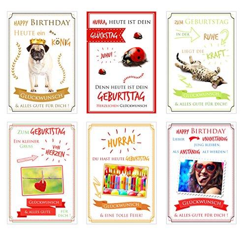 urtstagskarten mit lustigen Sprüchen. Glückwunschkarten zum Geburtstag mit Umschlag. Grusskarte Geburtstagskarte Happy Birthday Mann Frau ()