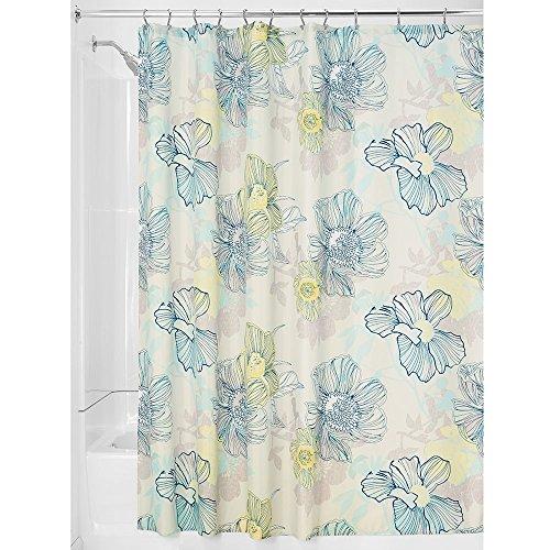 mDesign - Vintage Flower - Cortina de tela, para el cubículo de ducha, 180 x 180 cm - Azul multitono
