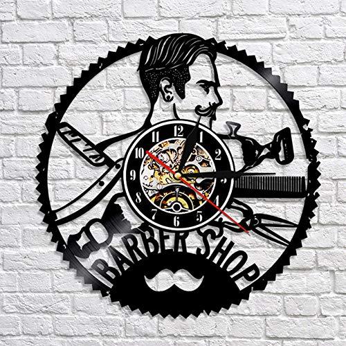 AGlitw Barbería Reloj de Pared Moderno peluquería decoración Vinilo Disco Reloj de Pared peluquería barbero Pared peluquería salón