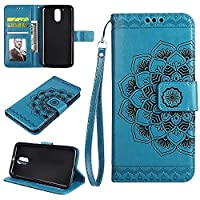 MOTO G4PLAY Wallet Case, EST-EU Retro Mandala Embossing PU Leather Stand Function Protective Covers with Card Slot Holder Wallet Book Case for MOTOROLA MOTO G4PLAY, Blue
