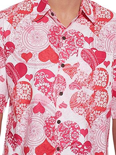 Shalinindia Herren Baumwolle Gedruckt Strand Shirt-Hälfte Ärmel-Fronttasche Rosa 1