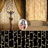 Lampadaire à batterie Éclairage à cordes en plein air, 300 LED Icicle Fond d'écran de fond Feux de fête [Coffre-fort, à distance, 8 modes, minuterie, 9,8 pi × 9,8 pi, gradable, portable] Bonnes lumières décoratives pour le mariage intérieur à l'extérieur, le camping, le camping-car, le barbecue Musique Beer Party-Blanc Chaud