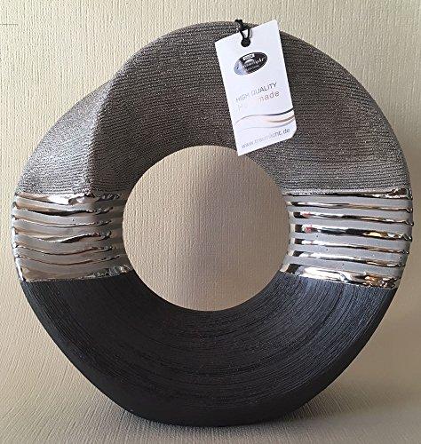 Gilde Moderno Jarrón Jarrón de cerámica Jarrón Decorativo (con agujero gris plata,...