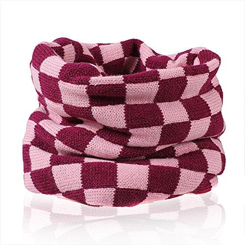 Butterme Winter Kind Mädchen Jungen gestrickte Woll Spitze Unendlichkeit Schal Schal Halstuch Rosa -Beste Weihnachtsgeschenk (Damen Winter Unendlichkeit Schal)