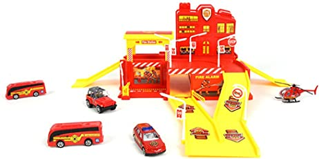 Halo Nation Die CAST FIRE Packing LOT Set Fire Rescue Garage Big Size with Cars Helicopter and Bus