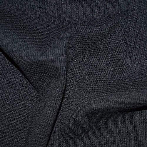 Stoffband Rib Stretch Jersey Knit Kleid Stoff - Schwarz - Stretch Rib Cuff Stoff - Verkauft durch 20cm x 1m20 -
