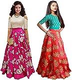 #9: Market Magic World Girl's Pink & Orange Banglori Semi Stitched Combo Pack lehenga Choli, Salwar Suit, Gown (Kids Wear_Free Size_8-12 Year age)