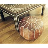 Moroccan Leather Pouffe (filled) - Natural Tan
