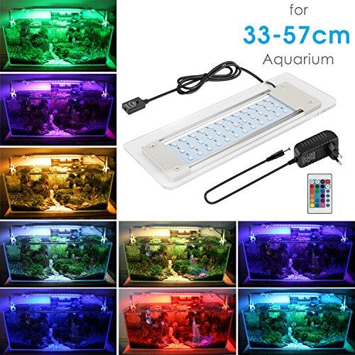 MAINLICHT Aquarium LED Beleuchtung, Aquariumbeleuchtung Lampe aus Aluminium Acrylglas 16 Farben Bunt mit Befestigungsklammer für 33cm-57cm Aquarium (Aquarium-beleuchtung-anleitung)