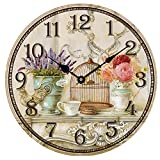 HUABEI Horloge Pendule Murale Silencieuse Style Vintage Lavande Vase Cage 12 Inch