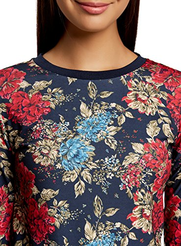 oodji Ultra Damen Bedrucktes Sweatshirt mit Kontrastbesatz Blau (7968F)