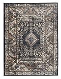 Tapiso Dubai Teppich Klassisch Kurzflor Orientalisch Flachflor in Schwarz mit Geometrisch Ornament Muster Ideal für Wohnzimmer Ökotex 160 x 220 cm