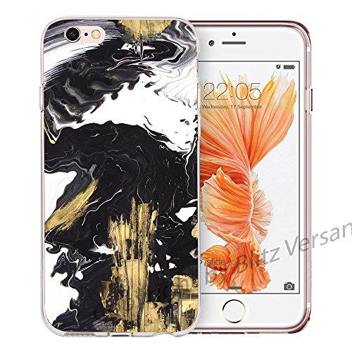 Blitz® MARBRE motifs housse de protection transparent TPE caricature bande iPhone Verre à marbre M11 iPhone 6 6s Or et marbre noir M10