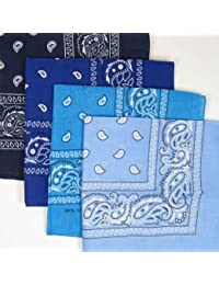 TURQUOISE BLUE cotton bandana scarf SQUARE WHITE PAISLEY by TC-Accessories