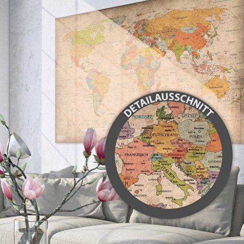 Antike Weltkarte XXL Poster im Riesenformat Vintage Design - Top Qualität (140x100cm) - 3