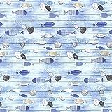 Fabulous Fabrics Baumwollköper Fische Touquet 1 – blau — Meterware ab 0,5m — Oeko-Tex Standard 100 — zum Nähen von Kissen und Tagesdecken, Tischdekorationen und Vorhängen