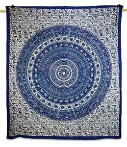 "Handicrunch Mandala Art Affiches Tapisserie Tenture Chemin de Table Bleu Designer Table Cloth Bed Sheet 95 "" X 82 "" Cadeau"
