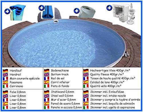 Stahlwandbecken Spar Set rund 5,00m x 1,20m Folie 0,8mm Pool Pools Rundbecken Rundpool