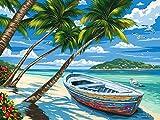 [Holzrahmen]Malen nach Zahlen Neuerscheinungen Neuheiten-DIY ölgemälde für Kinder, Malen nach Zahlen für Kinder-Der Schmetterlings-Tropischer Strand 16x20inch