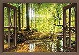 Artland Qualitätsbilder I Bild auf Leinwand Leinwandbilder Wandbilder 140 x 100 cm Landschaften Wald Foto Braun C3JG Fensterblick Wald mit Bach