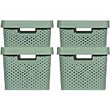 CURVER  4 Bacs de rangement Infinity 2x(11L+17L) + couvercles , Vert , Plastique recyclé