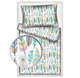 Kinderbettwäsche Federn 2-tlg. 100% Baumwolle 40x60 + 100x135 cm mit Reißverschluss (Federn pastell)