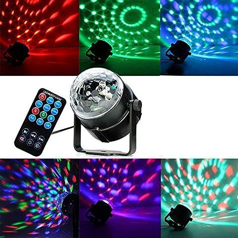 Party lumière Mini RGB Disco LED Projecteur de lumière avec 3W, télécommande et commande acoustique 7Colour Disco Party Lighting LED pour Noël Show DJ, Salle de bal, barre Stade Club Party, piste de danse, d'Halloween, Noël ou aussi pour mariages, Bars, Clubs et plus