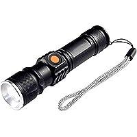 Torcia a LED Ricaricabile Mini USB 3 Modalità Livelli di Torcia a Fascio di Luce con Batteria al Litio Ricaricabile…