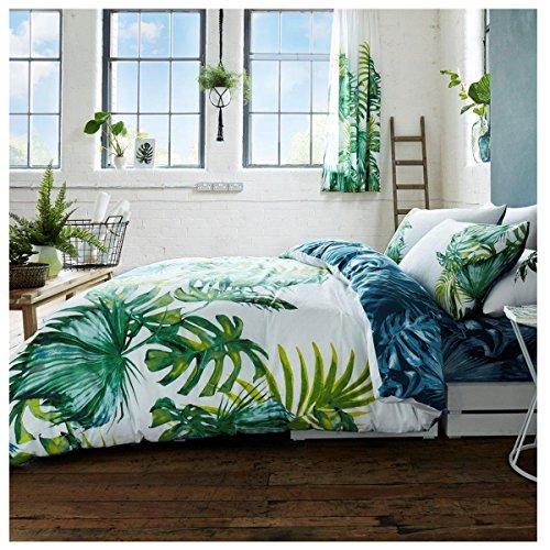 Fairways Luxus Tropical Leaf Bettbezug Bettwäsche Set mit Kissen Fällen aus gestepptem Polyester, multi, Doppelbett (Duvet-set Luxus-bettwäsche)