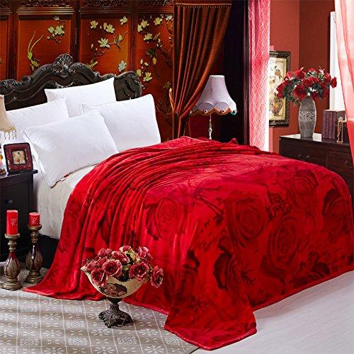 BDUK Die Decke der Single Layer Hochzeit Decke Cloud geschnitzten fusselfreien Winter mit großen roten Decken Decken die Ehe Ll Bean Schal
