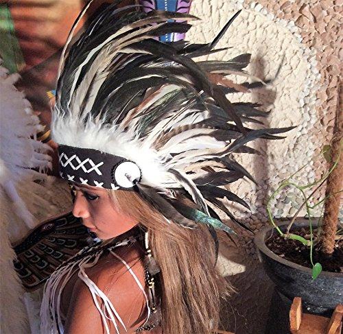 Federhaube Indianer Kopfschmuck coiffe indienne Real Feather war bonnet Real Feathers Headdress Chief War bonnet Real Feathers Little Big Horn bonnet de (Indianer Kopfschmuck)