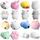 DIII Mochi Squishys Toys, 16 stuks Kawaii dieren Fidget speelgoed speelgoed, Stress Relief ealing Fun, Ornamenten Verjaardag
