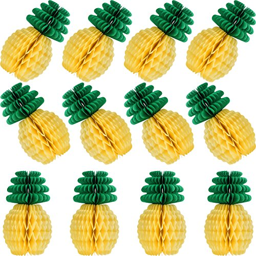 12 Packung Tropical Hawaiian Party Papier Ananas Waben Dekoration Set 8 Zoll Sommer Thema Party Favor Strand Karneval Festival Hintergrund