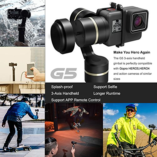 Cheapest Price for Handheld Gimbal, Feiyu Tech G5 3-Axis Camera stabilizer for Gopro HERO5,HERO4 HERO3+ HERO3 Yi Cam 4k AEE and Action Cameras of Similar Size Online