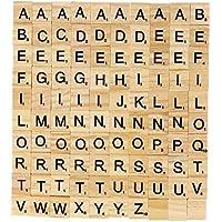 KAIMENG Madera Letras Cartas Scrabble Cartas de Cuadrado Juegos de azulejos