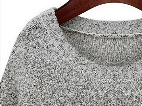 EOZY Femme Chandail Sweat-Shirt Pull Style Milan Impression Hibou Unicolore Gris