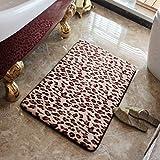 KOOCO Moda Leopard, rebote lento baño, de memoria, de algodón elástico, agua blanda antideslizante alfombrilla de pie, cuarto de ducha, 70*140cm, Moda Leopard Print