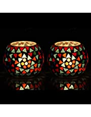 The Purple Tree Moroccan Glass Mosaic Tealight Candle Holder (Pack of 2)