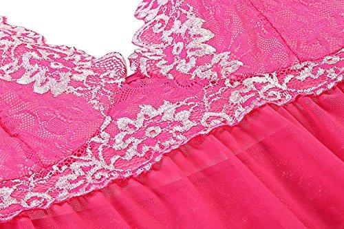 Avidlove Damen Semi-Transparente Vorne Offene Babydoll Nachtkleid mit Vornem Band Verschluss A Rosa Rot