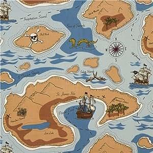Tissu Riley Blake bleu pirate, carte au trésor, tête de mort