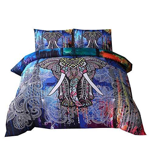 Dasyfly 3-teiliges Bohemian-Bettbezug-Set für King-Size-Betten, Mandala, Elefant, Boho, Bettwäscheset für Heimdekoration, Multicolor Elephant, King Size
