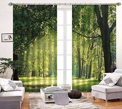 3D Wald Grüner Baum 120 Blockout Foto Vorhang Druck Vorhänge |3D Groß Foto Vorhang , AJ WALLPAPER DE Lemon (【80''x 63''】203cmx160cm(BxH))