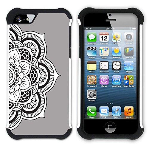Graphic4You Mandala Blume (Lila) Hart + Weiche Kratzfeste Hülle Case Schale Tasche Schutzhülle für Apple iPhone SE / 5 / 5S Grau