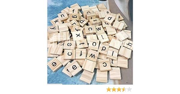 100 Scrabble Wood RICISUNG Noir Lettres en Bois Puzzle Alphabets A /à Z